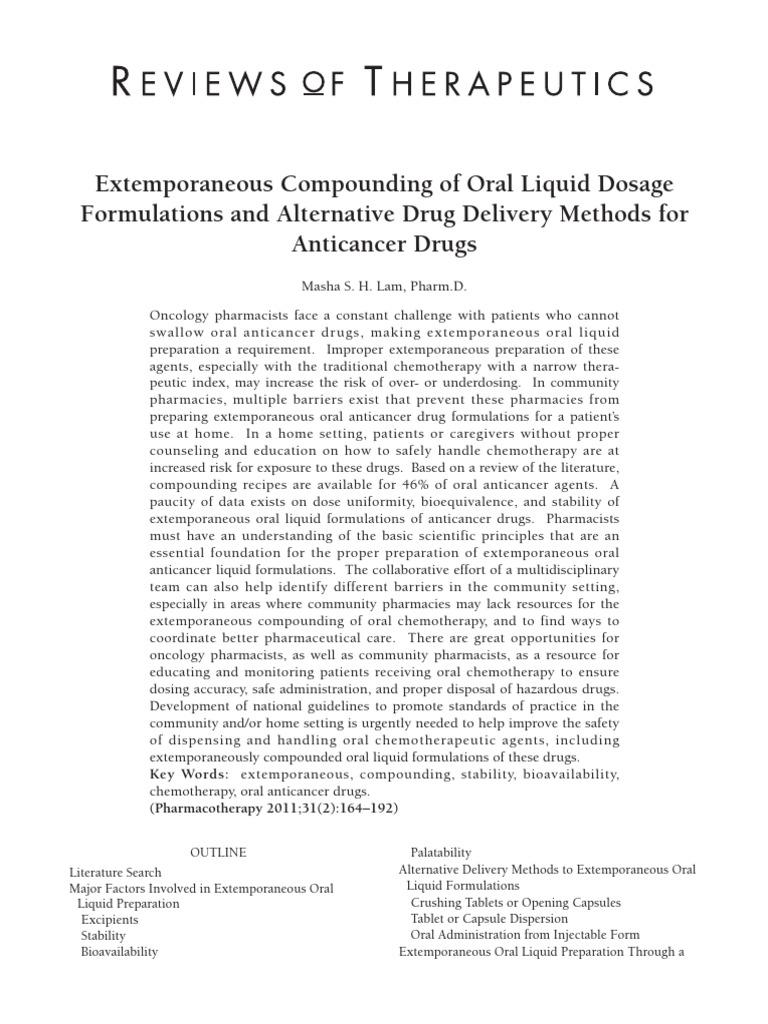 Extemporaneous Compounding Of Oral Liquid Dosage Formulations |  Pharmaceutical Formulation | Tablet (Pharmacy)