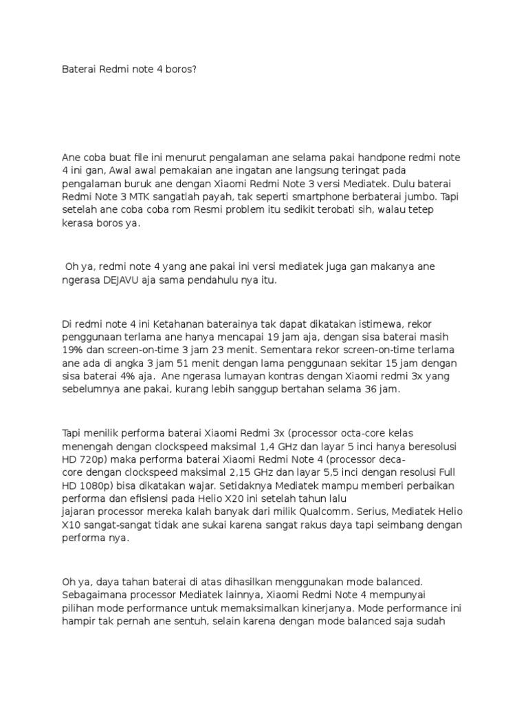 Penyebab Redmi Note 4 Boros Baterai