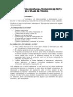Estrategias Para Mejorar La Produccion de Texto de 6º Grado de Primaria
