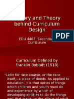 History and Theory Behind Curriculum Design