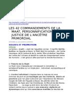 Les 42 Commandements de La Maat