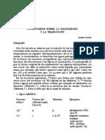 Comentarios Sobre La Paleografía y La Traducción