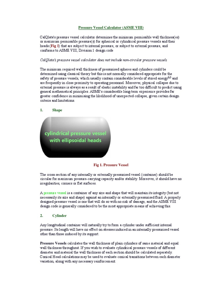 Pressure Vessel Calculator   Steel   Stress (Mechanics)