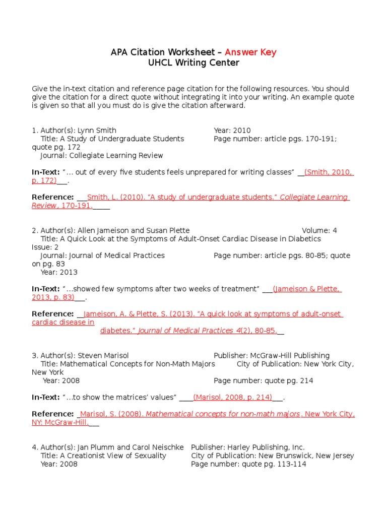 A Pa Citation Worksheet Answers Wellness