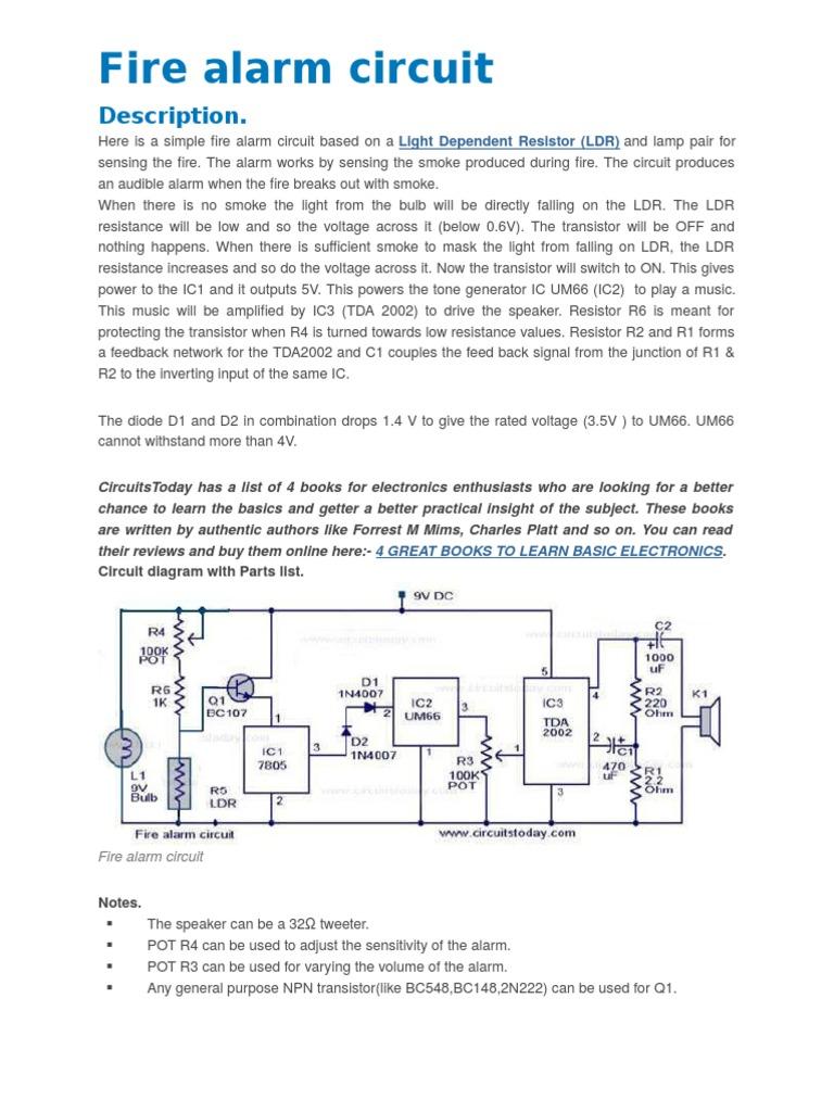 Fiere Alarm Circuit | Power Supply | Rectifier