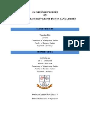 Internship Report on Internet Banking Services of Janata