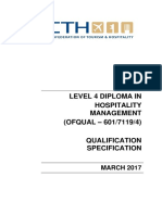 MARCH 2017 L4 Diploma in Hospitality Management Qualification Specification