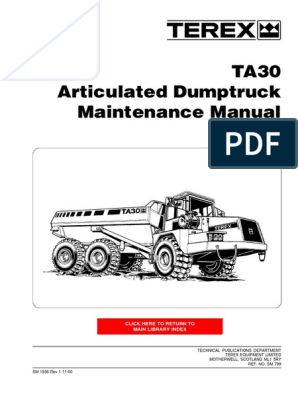 Terex TA30 Articulated Dumptruck Maintenance Manual | Automatic