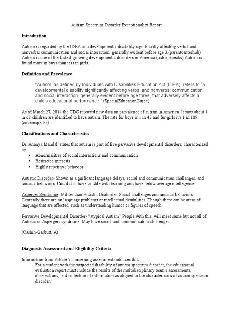 autism spectrum disorder execptionality report | autism | autism