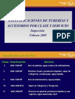 Tuberías y Accesorios Por Clase y Servicio