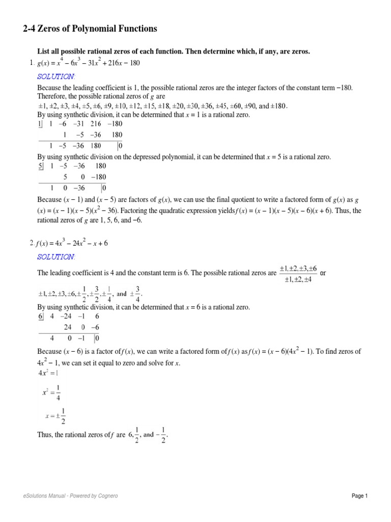24 Zeros of Polynomial Functions Factorization – Polynomial Functions Worksheets