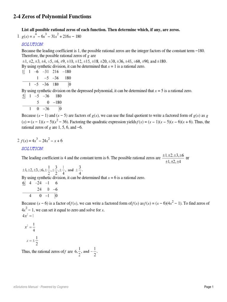 worksheet Polynomial Functions Worksheet 2 4 zeros of polynomial functions factorization polynomial