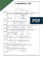 Maths KCET 2017 Keyanswers
