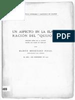 Un aspecto en la elaboracion del Quijote Pidal