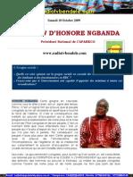 INTERVIEW D'HONORE NGBANDA Président National de l'APARECO Samedi 10 Octobre 2009