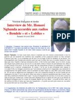 Interview de Mr. Honoré Ngbanda accordée aux radios « Bendele » et « Lobiko » Samedi 10 avril 2010