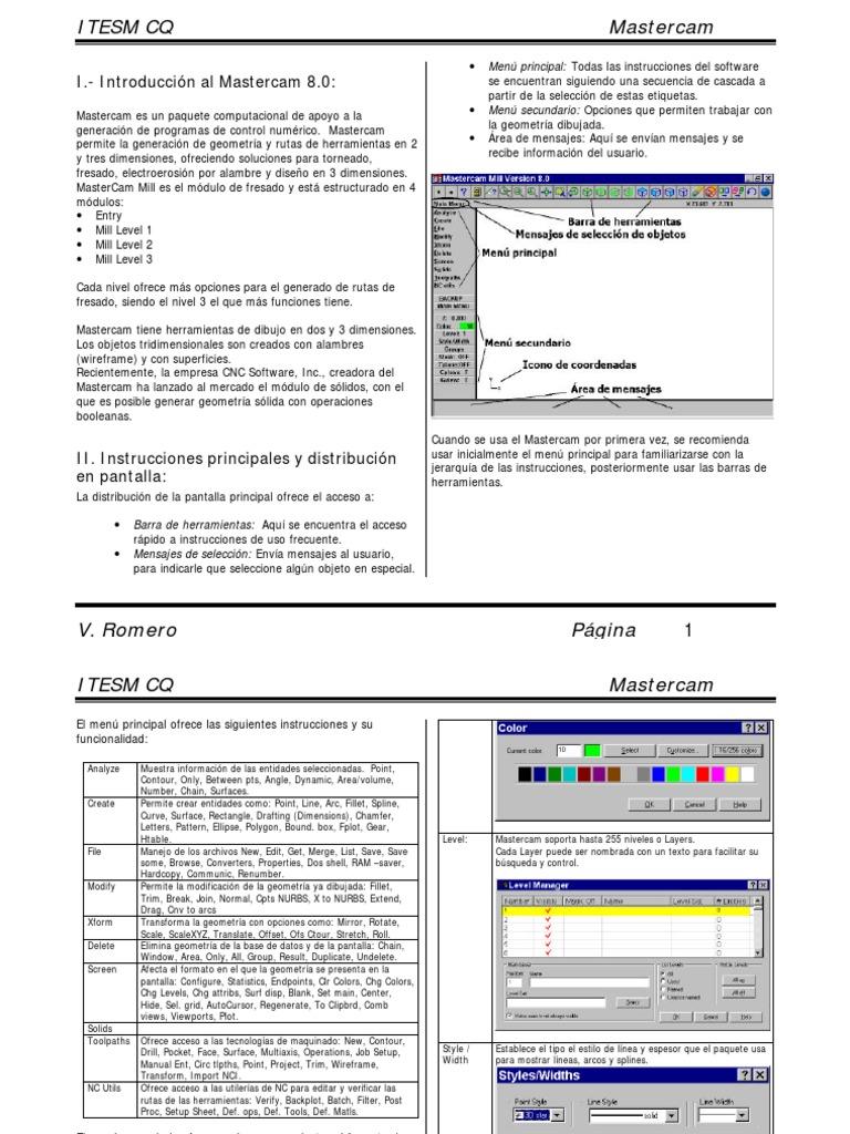 I.-Introducción al Mastercam 8.0:: Menú principal: Todas