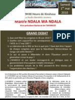 Invitation du 1 mai 2010 Maitre Ndala wa Ndala