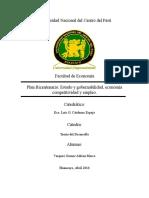 Plan Bicentenario-Estado y Gobernabilidad, Economía Competitividad y Empleo.
