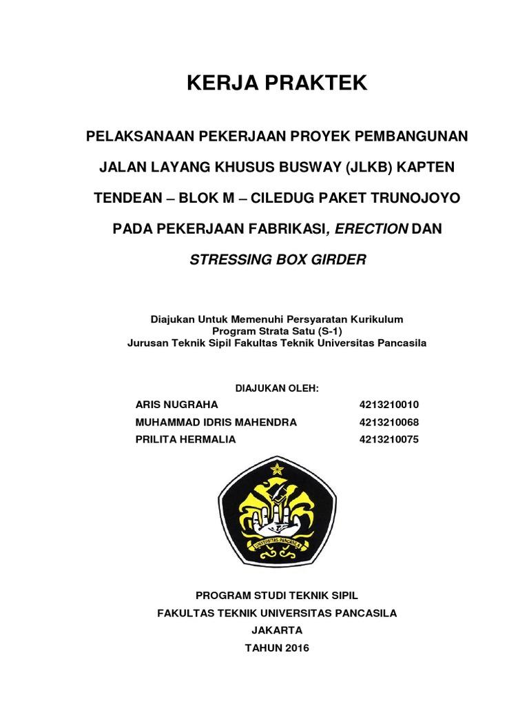 Contoh Laporan Kerja Praktek Teknik Sipil Jembatan Pdf Kumpulan Contoh Laporan