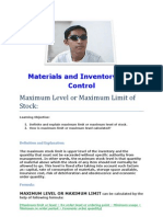 Materials and Inventory Cost Control