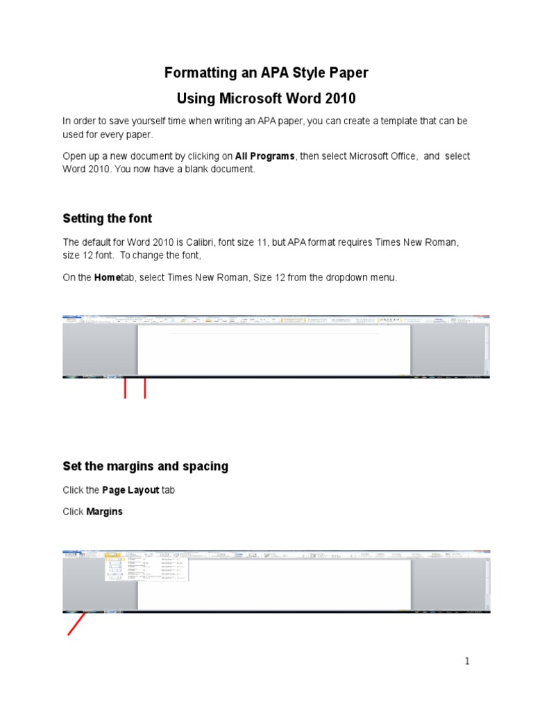 formatting an apa style paper using microsoft word 2010