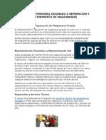 8. Mantenimiento y Reparación de Maquinaria Pesada