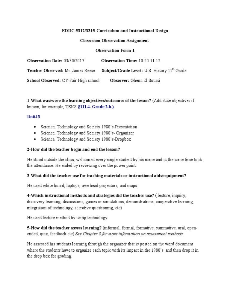 Classroom Observation Assignment Form 1 Blank 2 Classroom Teachers