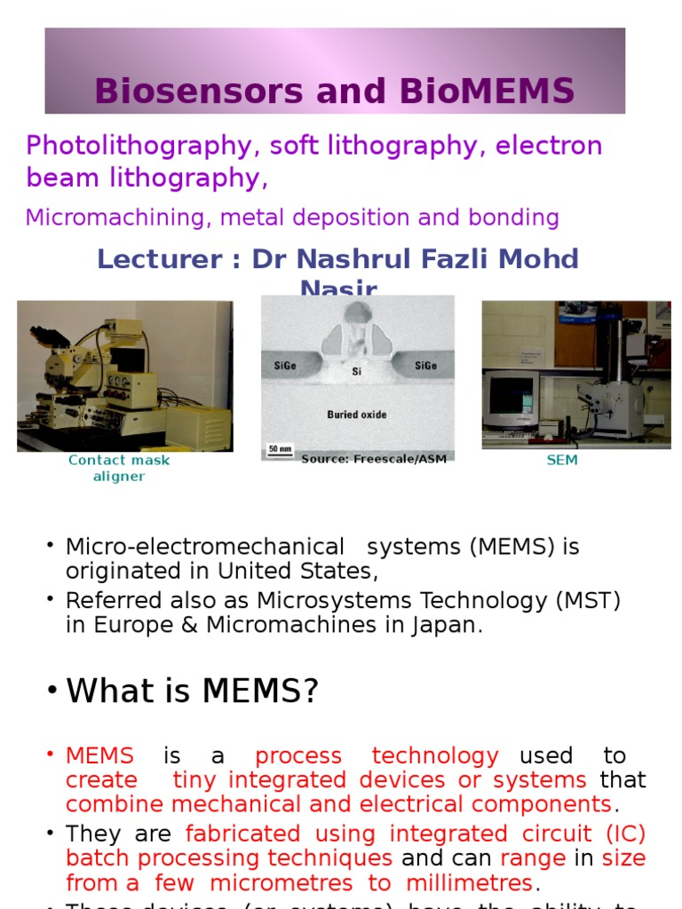 Biomems Chapter 1 Photolithography Microelectromechanical Systems