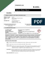 SDS R410A Safety