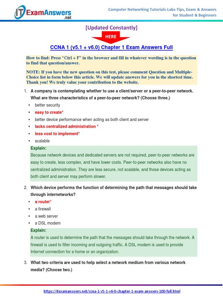 ccna 1 v5 1 v6 0 chapter 1 exam answers 2017 100 full cisco rh scribd com Exam Cram CCNA Study Guide ccna 2 chapter 1 study guide answers