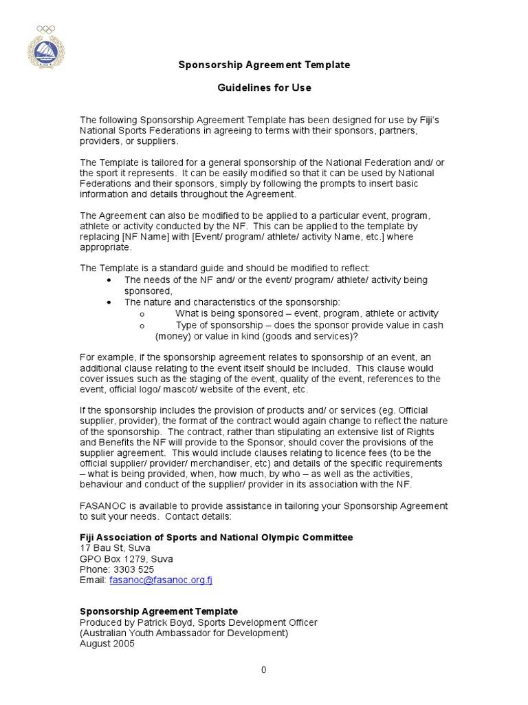 Sports Sponsorship Agreement Template from imgv2-1-f.scribdassets.com