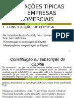 OPERAÇÕES TÍPICAS EM EMPRESAS COMERCIAIS