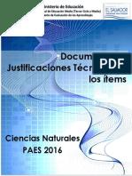 Justificaciones Ciencias PAES 2016