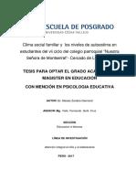 Clima Social Familiar y Niveles de Autestima