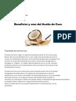 Beneficios y Usos Del Aceite de Coco Chile