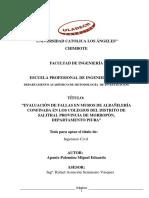 Evaluación de Fallas en Muros de Albañilería Confinada en Los Colegios Del Distrito de Salitral Provincia de Morropón, Departamento Piura