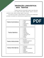 Caracterização Linguistica de Diferentes Tipos de Texto