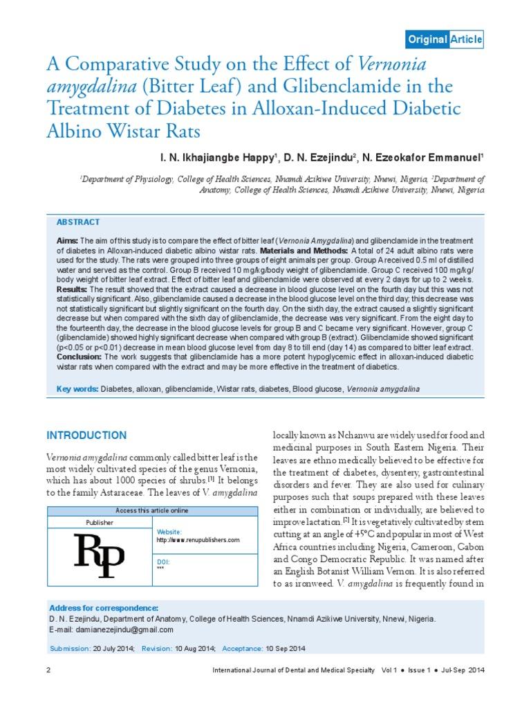 Antidiabetes Glibenclamid v amygdalina | Hypoglycemia