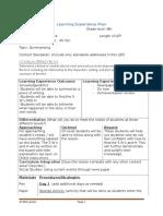 learning experience plan summarizing