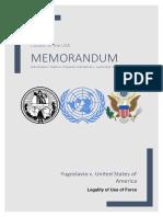 International Court of Justice Memorandum (Legality of Use of Force, Yugoslavia v. USA)