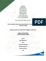 Política Lingüística en Contextos Rurales Vivencias Profes de Inglés 2015