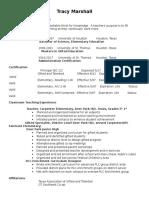 resume tracy marshall