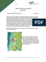 Reporte Completo Sobre Sismicidad en Zona Central Durante Abril de 2017