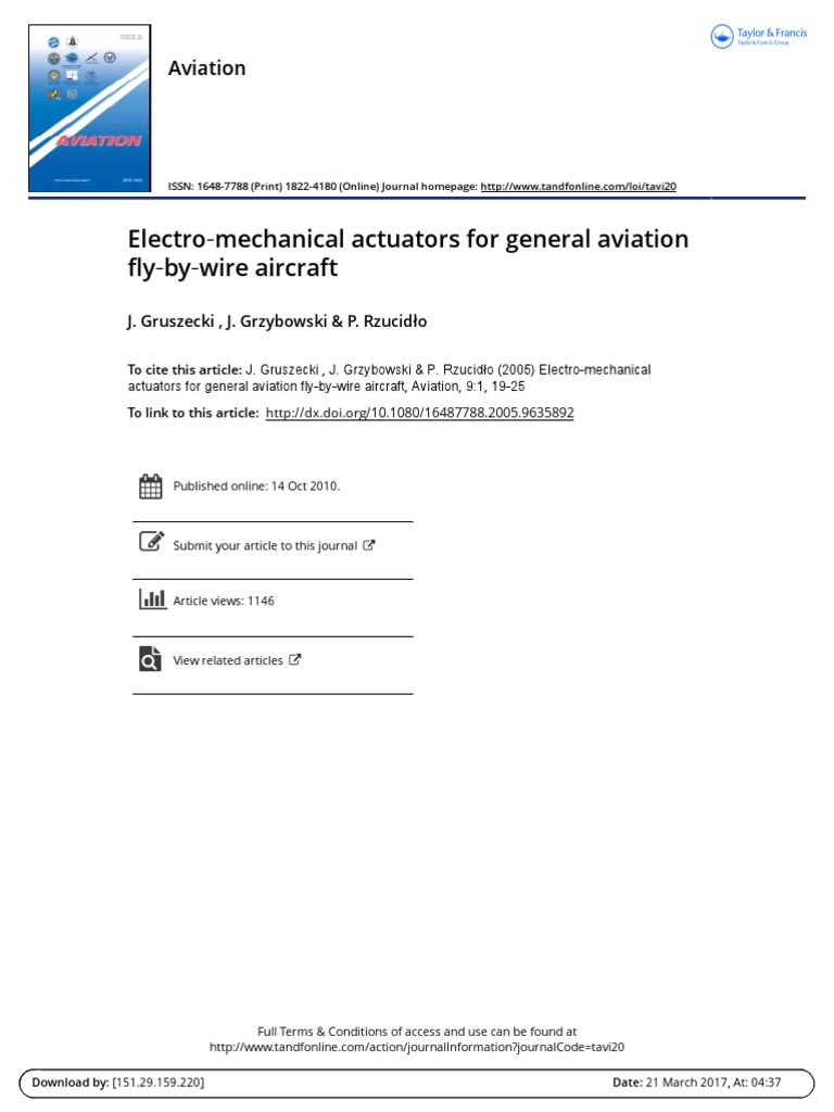 Electro Mechanical Actuators for General Aviation Fly by Wire ...