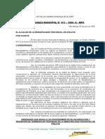 Ordenanza Nº 012 -2008 Ordenanza Adjudicacion y Reversion de Terrenos