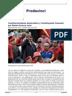 Constitucionalismo Democratico y Constituyente Comunal Por Ramon Escovar Leon