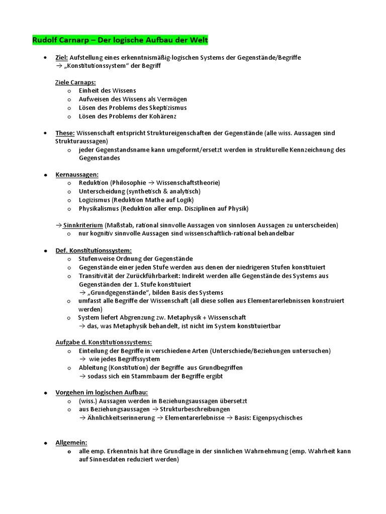 Rudolf Carnarp - Der logische Aufbau der Welt Zusammenfassung