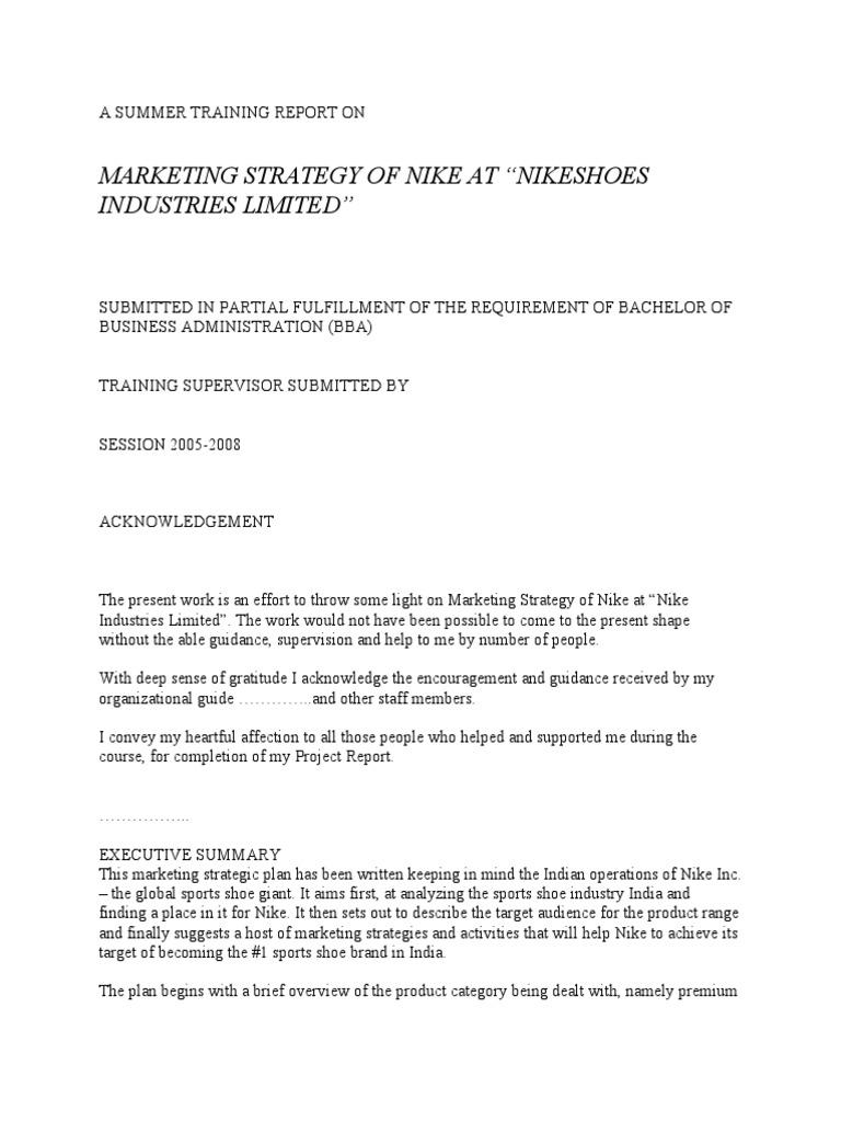 A Summer Training Report on Nike   Survey Methodology   Nike