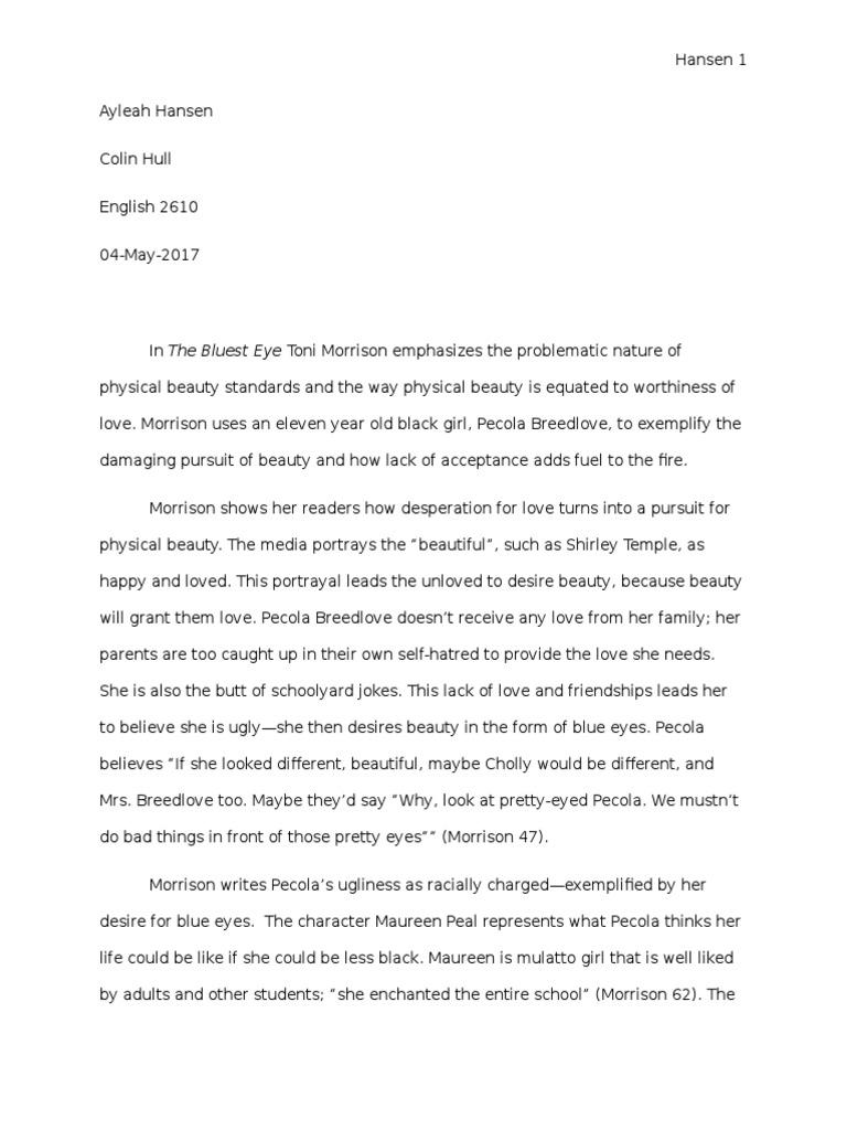 The bluest eye essay - beauty budget project essay